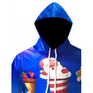 Christmas Cartoon Santa Printed Pullover Hoodie - BLUE 3XL