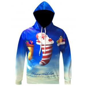 Christmas Cartoon Santa Printed Pullover Hoodie