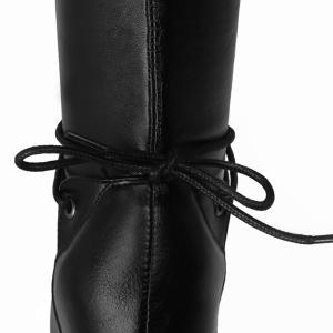 Tie Up PU Leather Chunky Heel High Boots -