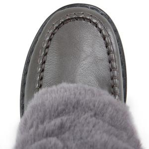 Stitching PU Leather Faux Fur Snow Boots -
