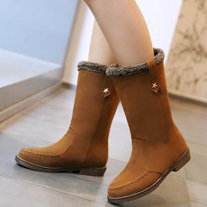 Metal Star Suede Stitching Mid-Calf Boots -