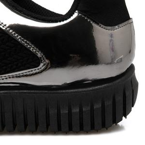 Patent Leather Ribbed Tie Up Athletic Shoes -
