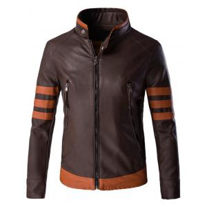 Plus Size Color Block Splicing Design Zip Up PU Leather Jacket - Brown - Xl