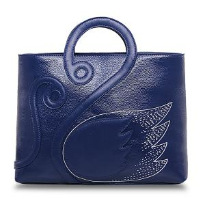 Textured PU Leather Swan Handbag - Blue