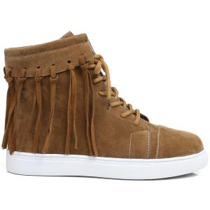 Casual Fringe Lace Up Short Boots -