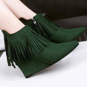 Wedge Heel Pointed Toe Fringe Ankle Boots -