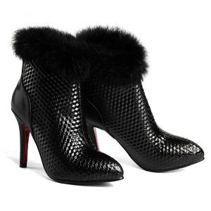 Embossed Faux Fur Stiletto Heel Boots - BLACK 39