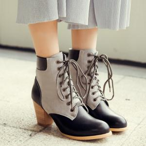 Color Block PU Leather Panel Chunky Heel Boots -