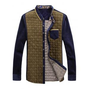 Chest Pocket Contrast Insert Grid Quilted Shirt