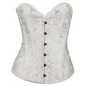 Lace Up Underbust Corset - White - M
