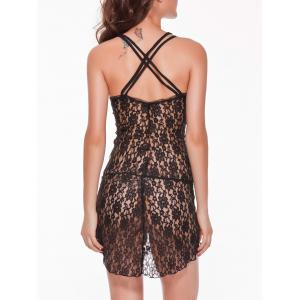 Asymmetric Lace See-Through Babydoll - BLACK 2XL