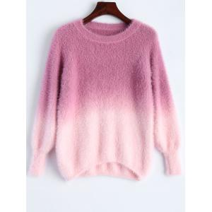 Ombre High-Low Fuzzy Sweater - Rose Red - One Size