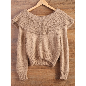 Flounced High-Low Fuzzy Sweater