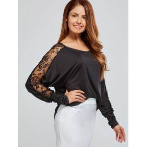Lace Insert Batwing Sleeves Blouse - BLACK 2XL