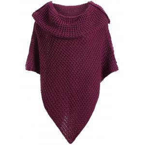Plus Size Knitted Asymmetric Chunky Cape - PURPLISH RED ONE SIZE
