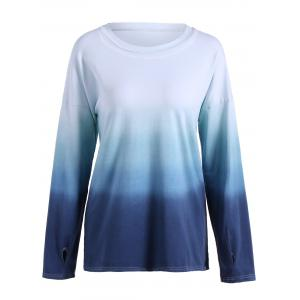 Long Sleeve Gradient Color Tee - BLUE 4XL