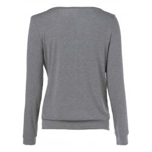 Side Button Sweatshirt - GRAY XL