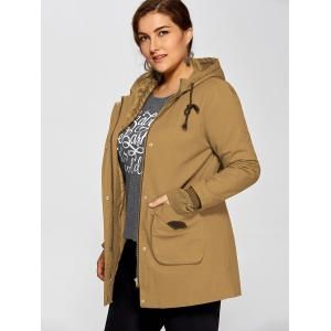Double Pockets Utility Long Jacket with Hood -