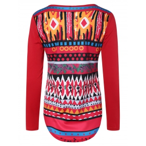 Printed Long Sleeve Christmas T-Shirt - RED XL