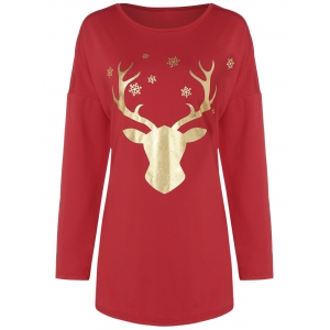 Drop Shoulder Fawn Print T-Shirt