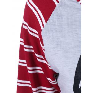 Raglan Sleeve Striped Graphic Baseball Tee Shirts -