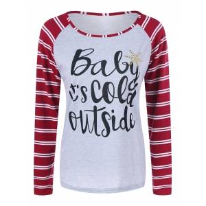 Raglan Sleeve Striped Graphic Baseball Tee Shirts
