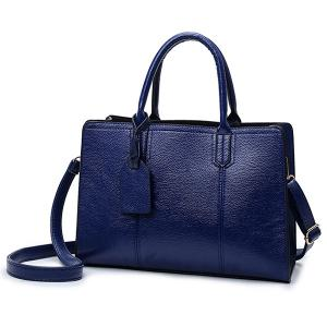 Textured PU Leather Pendant Handbag - Deep Blue