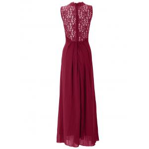 Lace Panel Maxi Chiffon Swing Cocktail Prom Dress -