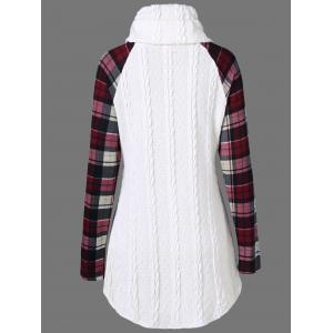 Plaid Cable Knit Tunic Sweater - WHITE XL