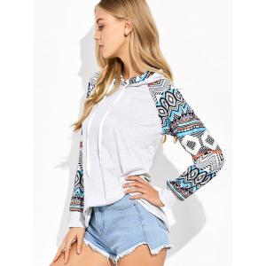 Raglan Sleeve Geometric Print Hooded Tee - LIGHT GRAY M