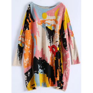 Batwing Sleeve Graffiti Pattern Sweater