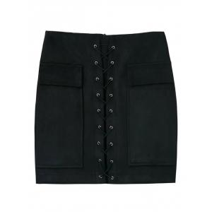 Faux Suede Mini Skirt With Pockets - Black - S