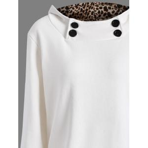 Solid Color Loose Fitting Leopard Print Hoodie For Women -