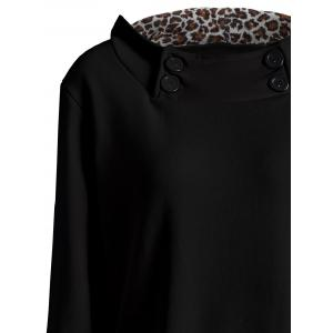 Solid Color Loose Fitting Leopard Print Hoodie For Women - BLACK ONE SIZE