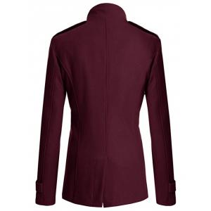 Stand Collar Zipper Design Double Breasted Woolen Blends Coat - WINE RED 3XL