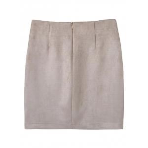Faux Suede Mini Skirt With Pockets - OFF WHITE S