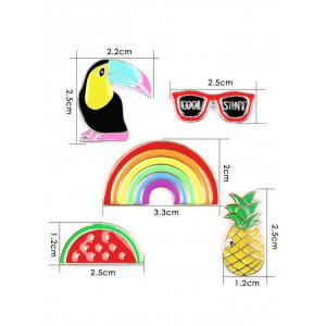 Pineapple Rainbow Watermelon Glasses Brooch Set - COLORMIX