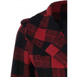 One Button Design Plaid Coat - CHECKED XL