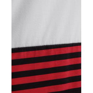 Stripe Color Block Pocket Long T-Shirt - WHITE L