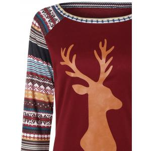 Christmas Raglan Sleeve Stripe Elk T-Shirt - WINE RED L