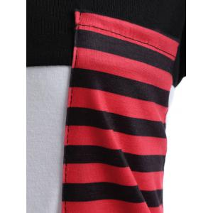 Stripe Color Block Pocket Long T-Shirt - WHITE XL