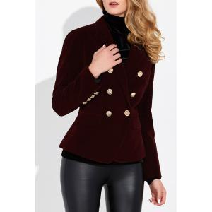 Slim Velvet Blazer - Wine Red - M