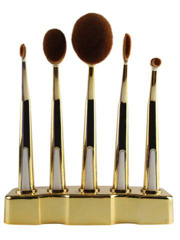 Shop 5 Pcs Nylon Oval Toothbrush Makeup Brushes Set with Brush Stand GOLDEN