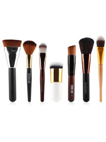 Shops 7 Pcs Nylon Face Makeup Brushes Set BLACK