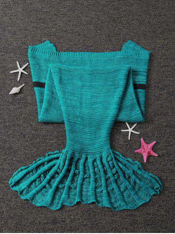 Unique Winter Thicken Knitted Wrap Sofa Mermaid Blanket - GREEN  Mobile