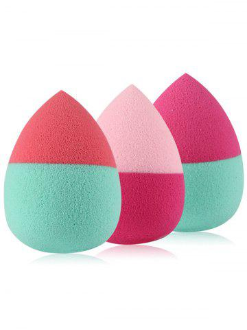 3 Pcs Two Tone Teardrop Shape Makeup Sponges - Red