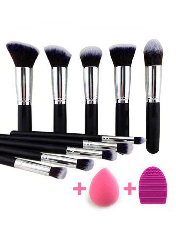Discount 10 Pcs Makeup Brushes Set + Makeup Sponge + Brush Egg BLACK