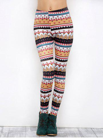 Affordable Tight Christmas Print Leggings - M COLORMIX Mobile