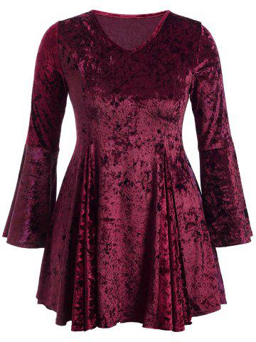 Unique Bell Sleeve Velvet Fit and Flare Short Cocktail Dress BURGUNDY 3XL