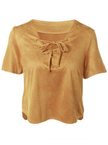Store Plunging Neck Short Sleeve Lace-Up Faux Suede T-Shirt